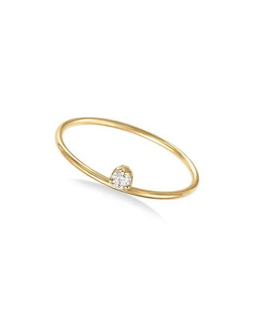 Zoe Chicco - Metallic 14k Yellow Gold Prong Set Diamond Ring - Lyst