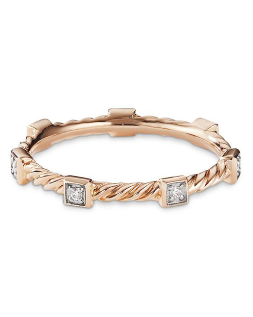 David Yurman - Metallic Cable Collectibles Cable Stack Ring In 18k Rose Gold With Diamonds - Lyst