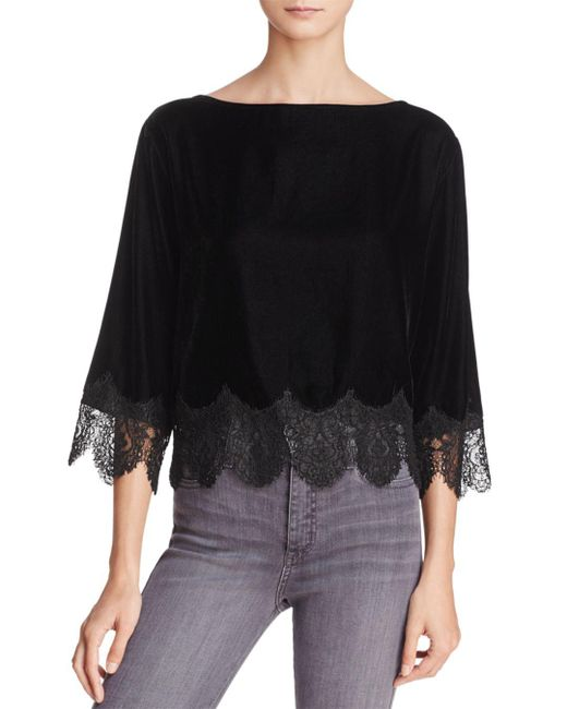Bailey 44 - Fade To Black Lace-trim Velvet Top - Lyst