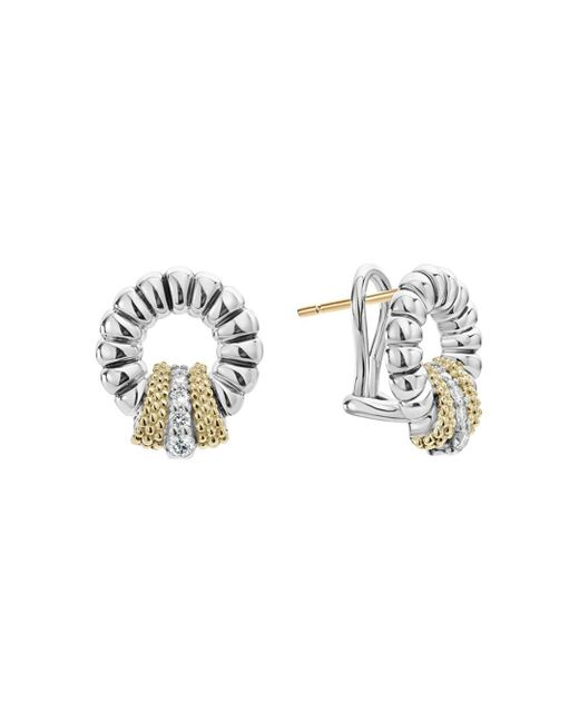 Lagos - Metallic 18k Gold And Sterling Silver Diamond Lux Circle Earrings - Lyst