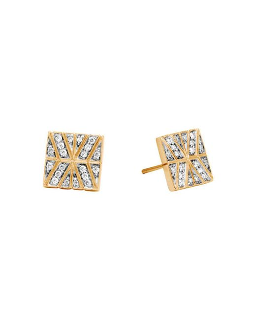 John Hardy - Metallic 18k Yellow Gold Modern Chain Stud Earrings With Diamonds - Lyst