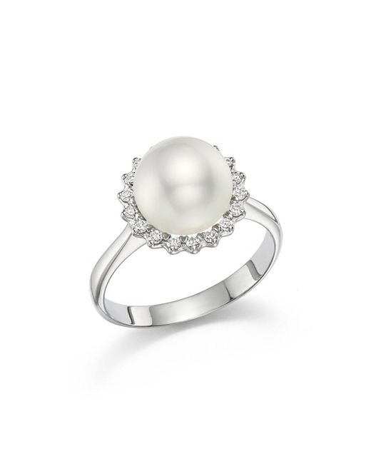 Tara Pearls - 14k White Gold Natural Color White South Sea Cultured Pearl And Diamond Ring - Lyst