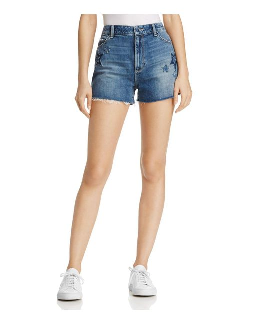 PAIGE | Blue Margot Star Patch Denim Shorts | Lyst