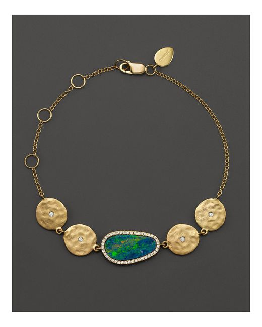 Meira T | Metallic 14k Yellow Gold Opal Disc Bracelet With Diamonds | Lyst