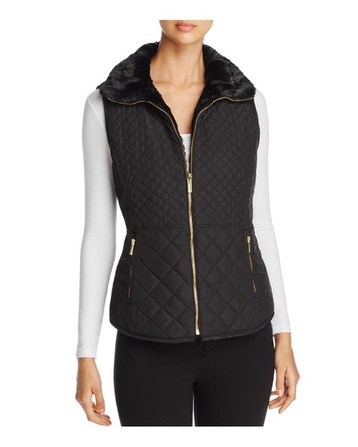 Calvin Klein Reversible Quilted Faux Fur Vest In Black Lyst