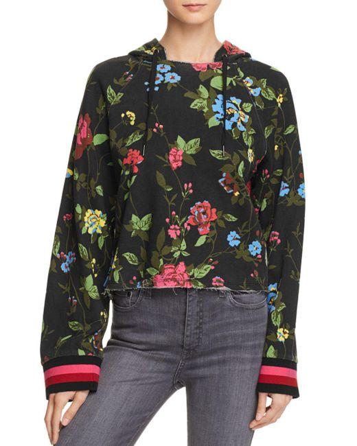 Pam & Gela - Black Floral Cropped Hooded Sweatshirt - Lyst