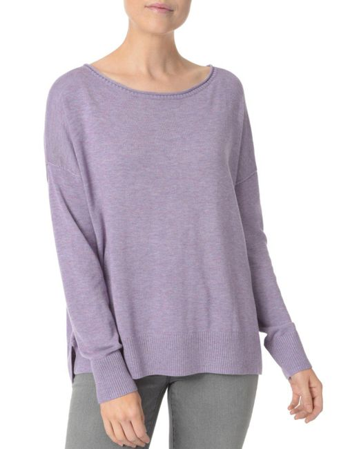 NYDJ - Purple Exposed Seam High/low Sweater - Lyst