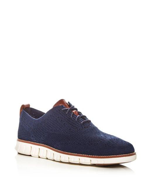 Cole Haan - Blue Men's Zerogrand Stitch Lite Knit Oxfords for Men - Lyst