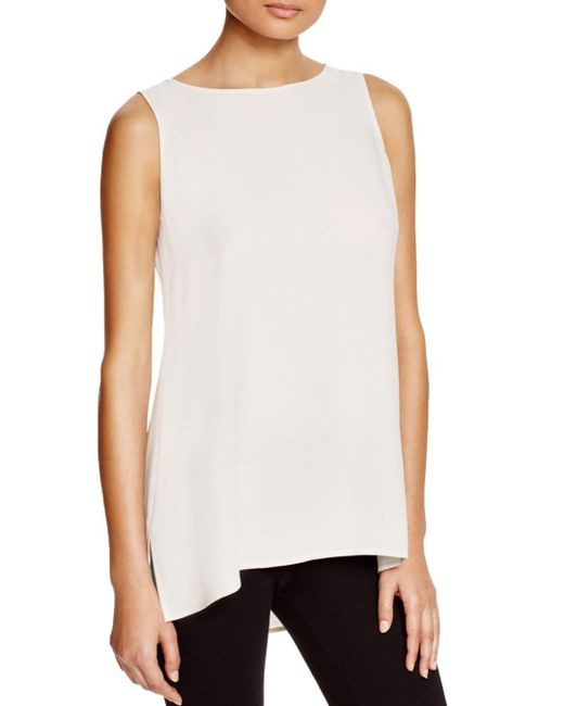 Eileen Fisher - Gray System High/low Silk Tank - Lyst