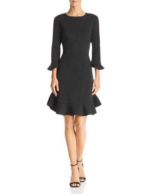 Nanette Nanette Lepore - Black Flounced Crepe Dress - Lyst