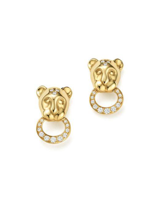 Temple St. Clair - Metallic 18k Yellow Gold Lion Cub Pavé Diamond Earrings - Lyst