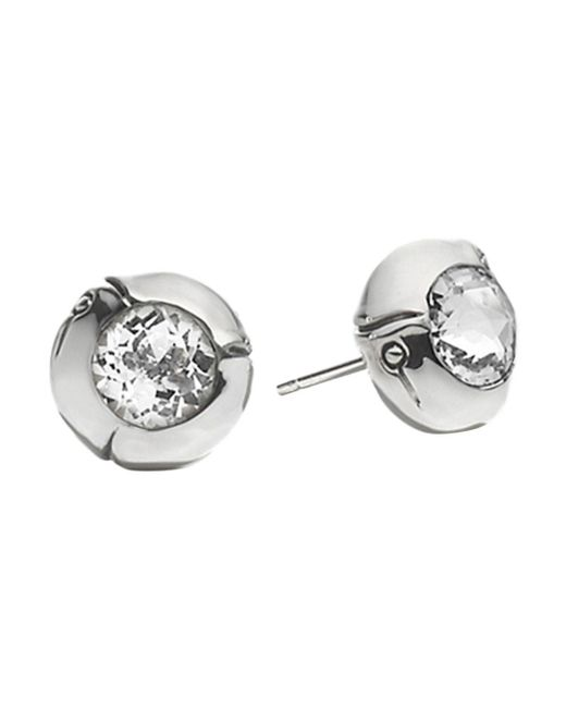 John Hardy - Sterling Silver Bamboo Small Round Stud Earrings With White Topaz - Lyst