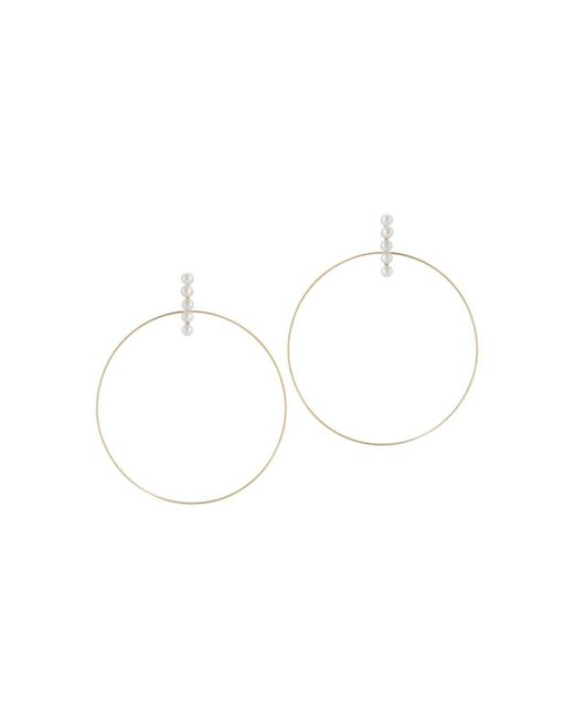 Mateo - Metallic 14k Yellow Gold Cultured Freshwater Pearl Hoop Drop Earrings - Lyst