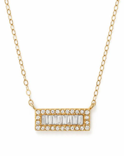Bloomingdale's - Metallic Diamond Round And Baguette Bar Pendant Necklace In 14k Yellow Gold, .20 Ct. T.w. - Lyst