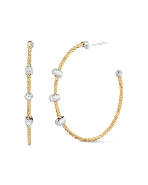 Alor - Metallic Diamond Hoop Earrings - Lyst