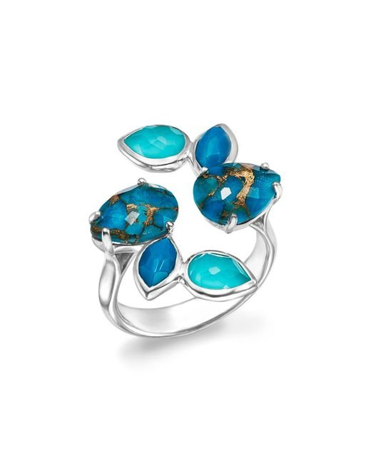 Ippolita | Metallic Sterling Silver Rock Candy® Mixed Turquoise And Doublet Bypass Ring | Lyst
