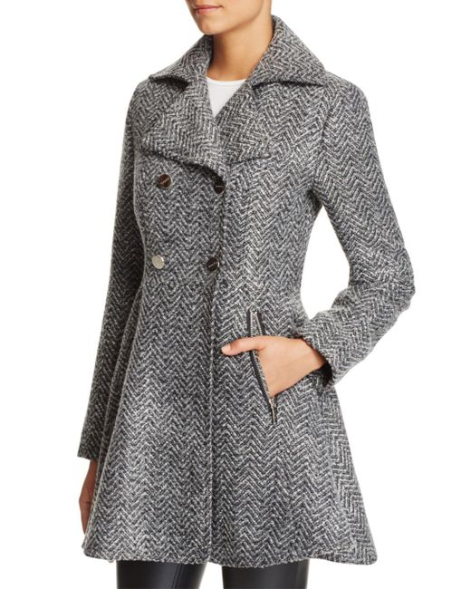 Laundry by Shelli Segal - Gray Fit And Flare Double-breasted Coat - Lyst