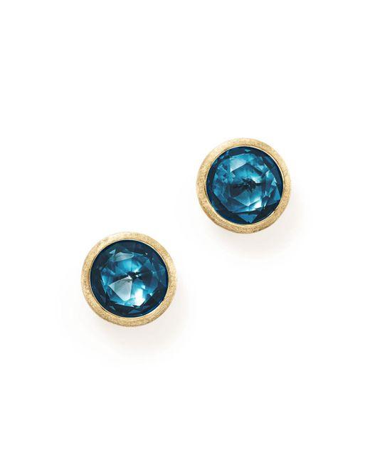 Marco Bicego - 18k Yellow Gold Jaipur London Blue Topaz Stud Earrings - Lyst