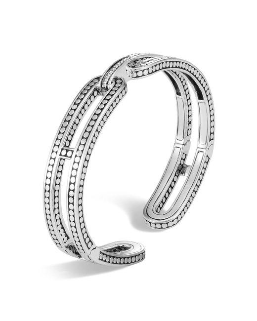 John Hardy | Metallic Sterling Silver Dot Small Kick Cuff With Pavé Diamonds | Lyst