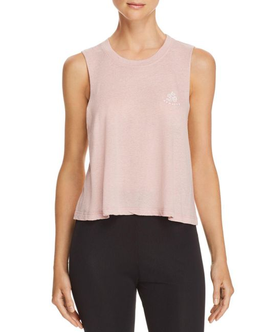 Spiritual Gangster - Pink Om Cropped Muscle Tank - Lyst