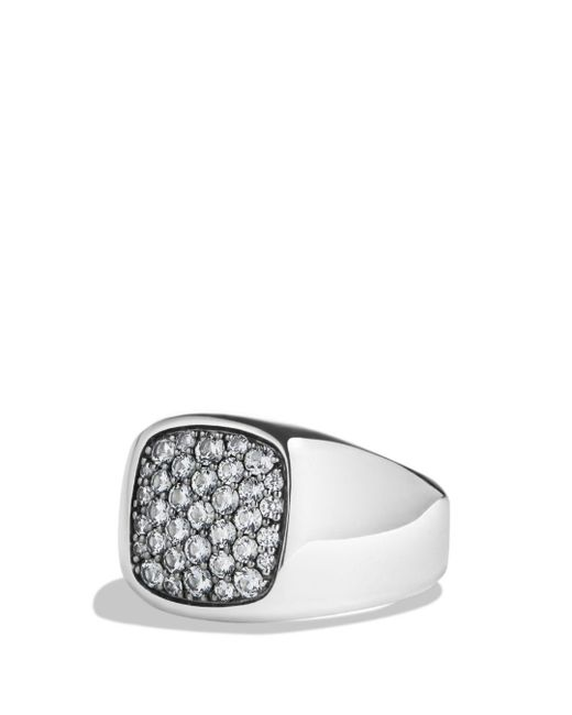 David Yurman - Pavé Signet Ring With Gray Sapphire In Silver for Men - Lyst