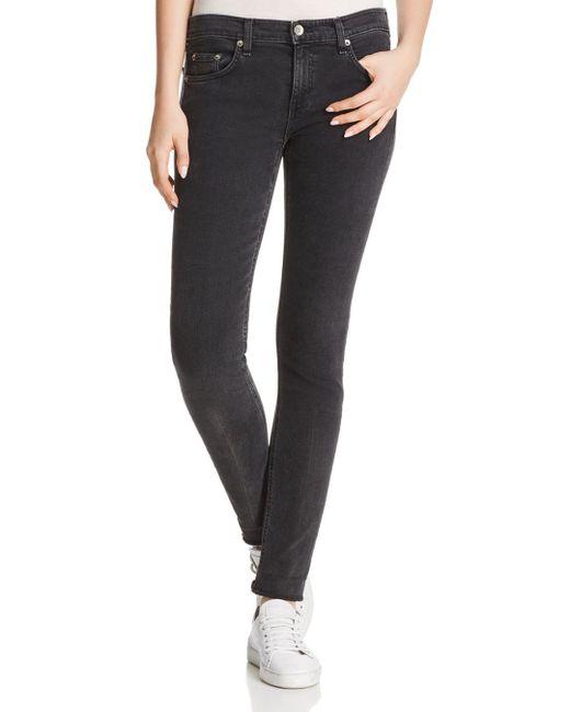 Rag & Bone - Black Fringed-hem Straight-leg Jeans - Lyst