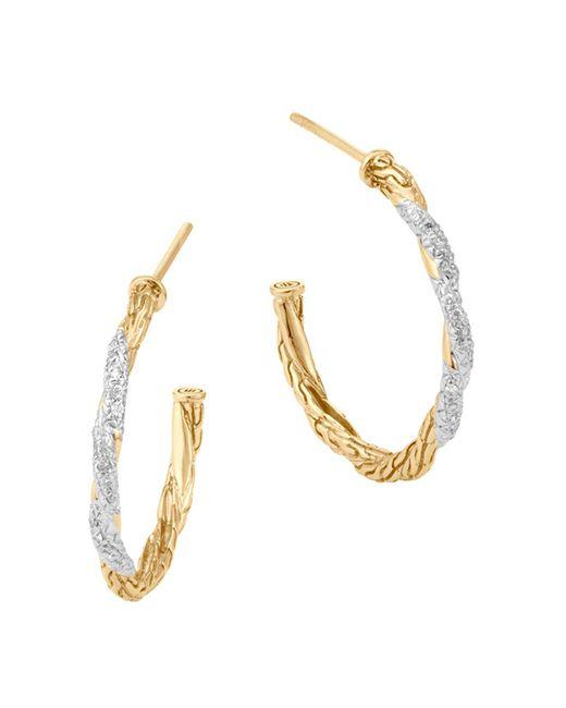 John Hardy   Metallic Classic Chain 18k Gold Diamond Pavé Small Hoop Earrings   Lyst