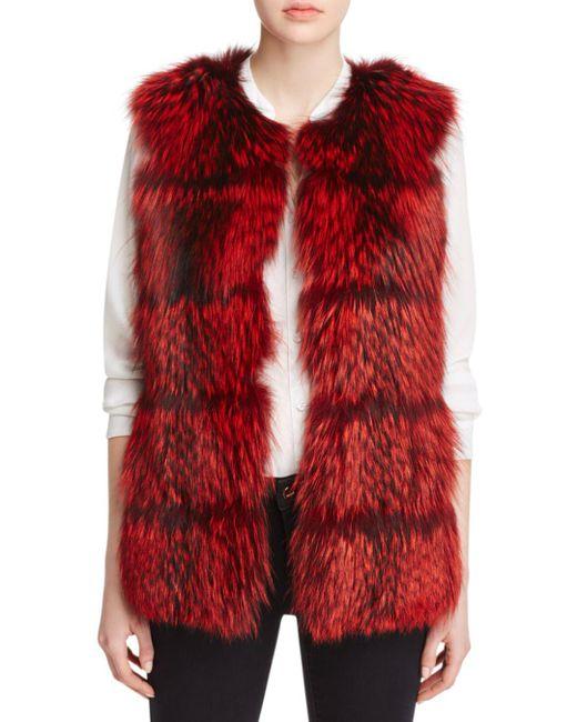 Maximilian - Red Collarless Fox Fur Vest - Lyst