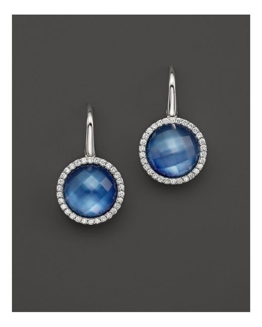 Roberto Coin | White Lapis And Mother-of-pearl Triplet Cocktail Earrings With Diamonds | Lyst