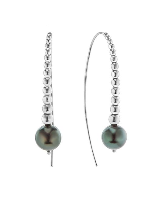 Lagos - Metallic Sterling Silver Signature Caviar Cultured Tahitian Black Pearl Linear Drop Earrings - Lyst