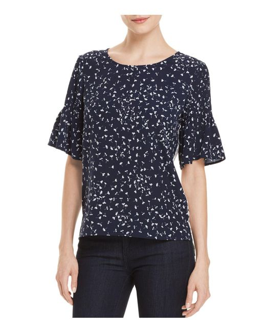 French Connection | Blue Komo Two-tone Pin-tuck Sleeve Top | Lyst
