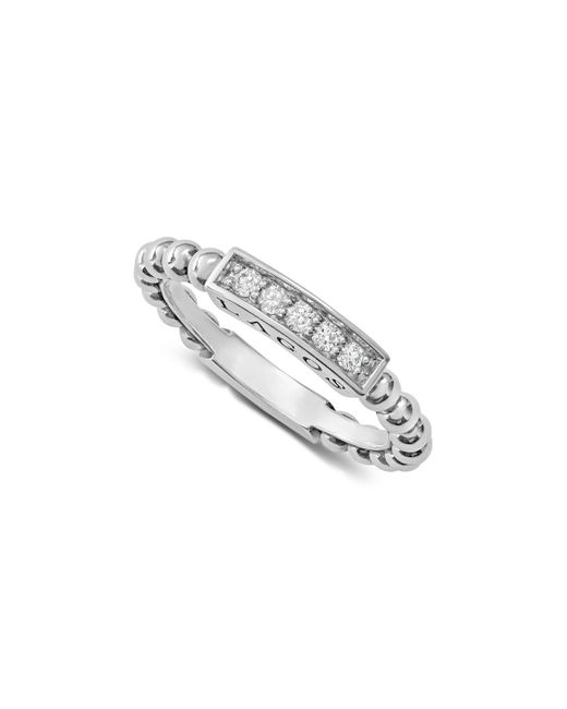 Lagos - Metallic Sterling Silver Caviar Spark Diamond Stacking Ring - Lyst