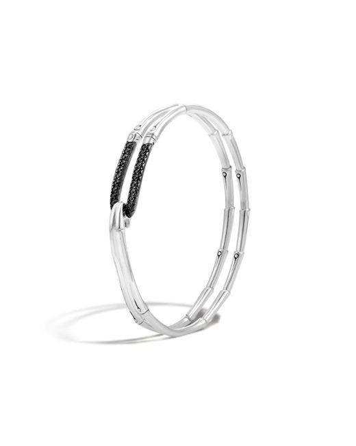 John Hardy - Metallic Bamboo Silver Lava Hook Bracelet With Black Sapphire - Lyst