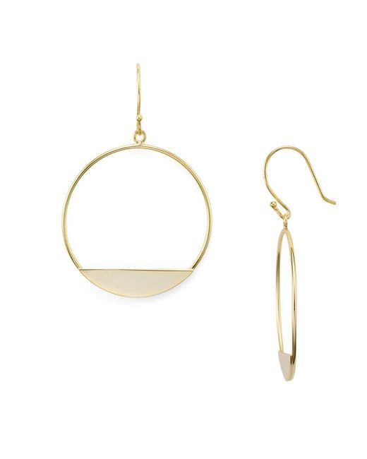 Aqua - Metallic Circle Drop Earrings - Lyst