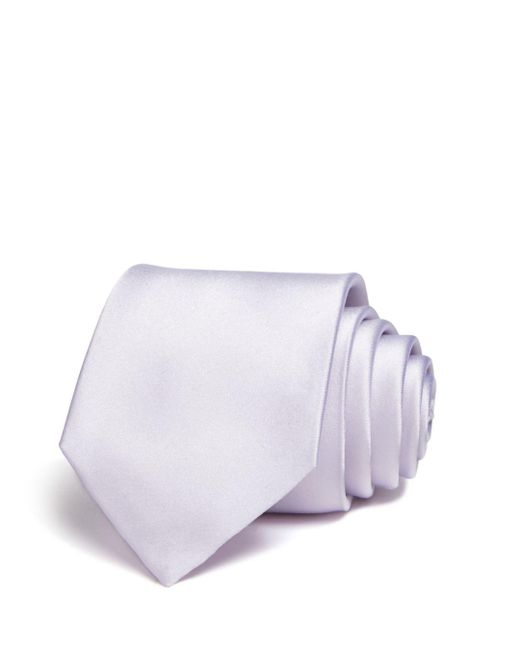 Bloomingdale's - Gray Solid Satin Skinny Tie for Men - Lyst