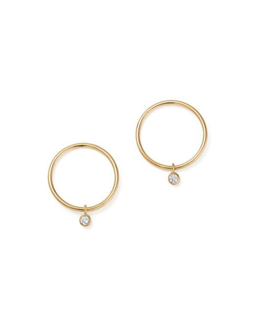 Zoe Chicco - Metallic 14k Yellow Gold Circle Earrings With Diamonds - Lyst