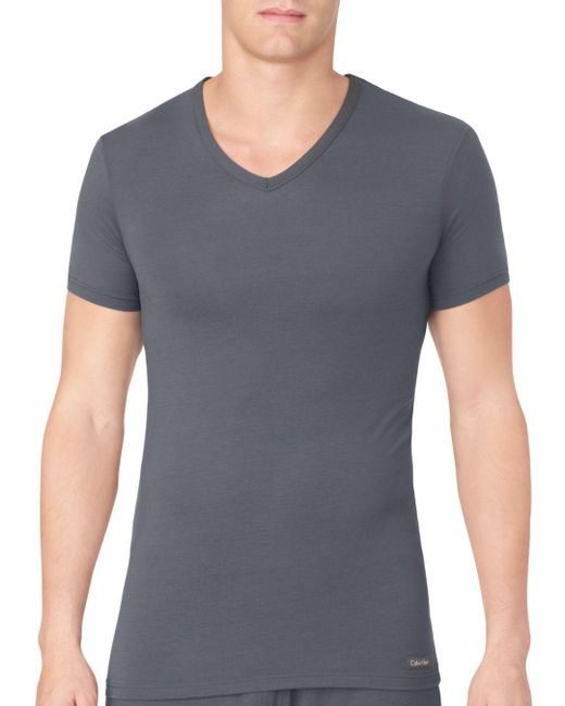 Calvin Klein - Gray Body Modal V-neck Neck Tee for Men - Lyst
