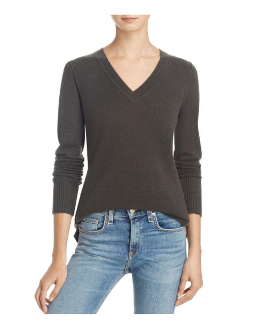 Aqua | Gray Cashmere V-neck Sweater | Lyst