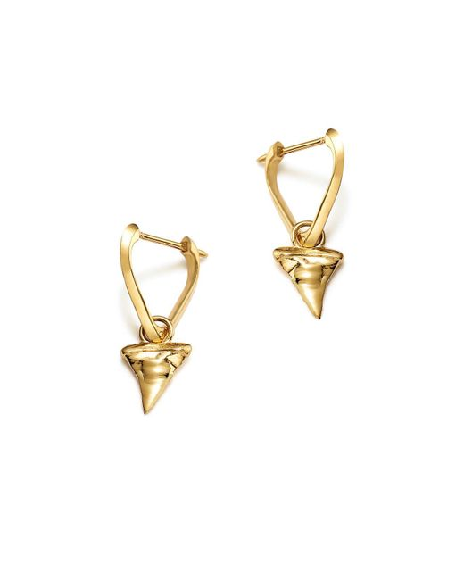 ICONERY | Metallic X Andrea Linett 14k Yellow Gold Small Triangle Hoop Earrings With Shark Tooth Charms | Lyst