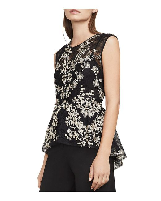 BCBGMAXAZRIA - Black Jaxie Embroidered Lace Peplum Top - Lyst