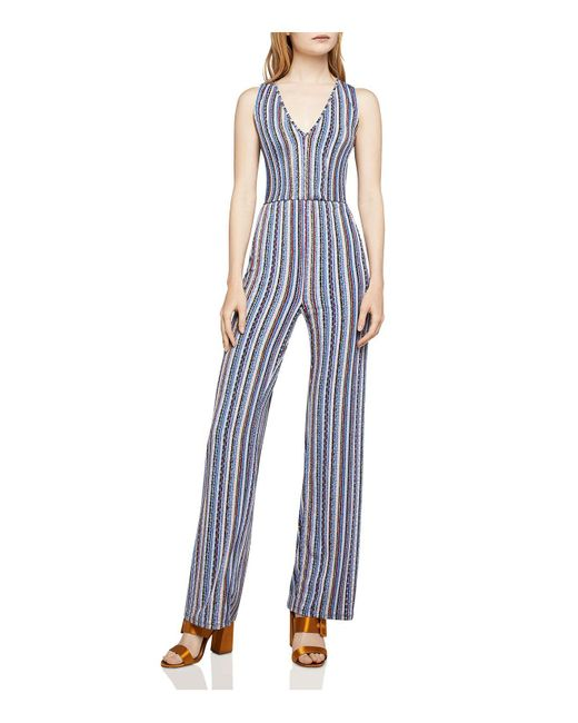 BCBGeneration - Blue Cutout-detail Basketweave-stripe Jumpsuit - Lyst