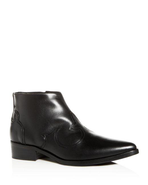 Frēda Salvador - Black Women's Arroyo Leather Western Pointed Toe Booties - Lyst