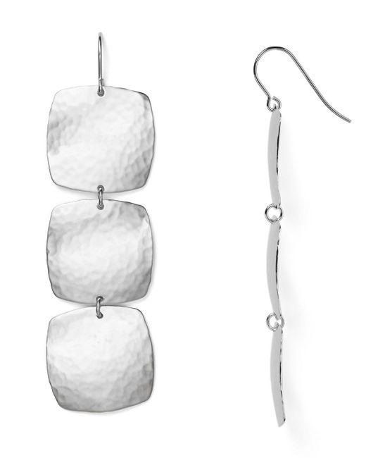 Bloomingdale's - Metallic Sterling Silver Hammered Cushion Drop Earrings - Lyst