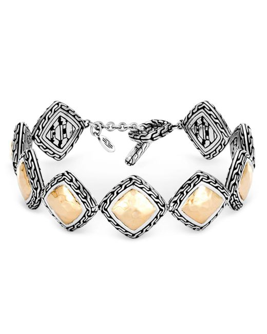 John Hardy - Metallic Hammered 18k Yellow Gold And Sterling Silver Classic Chain Link Bracelet - Lyst