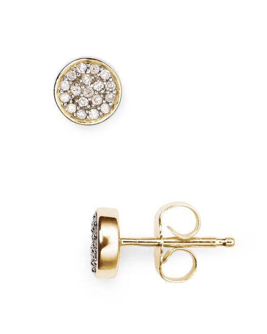 Adina Reyter | Metallic 14k Yellow Gold Pavé Diamond Disc Stud Earrings | Lyst