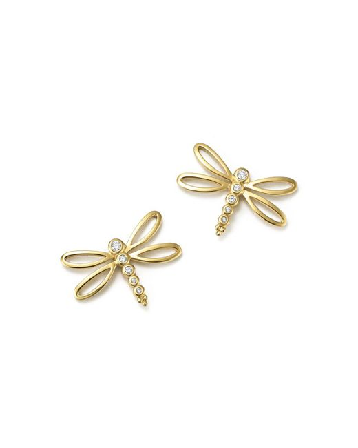 Temple St. Clair - Metallic 18k Yellow Gold Dragonfly Earrings With Diamonds - Lyst