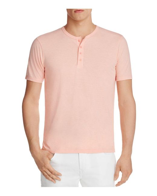 Goodlife | Pink Heathered Henley Tee for Men | Lyst