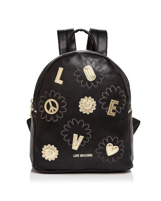 Love Moschino | Black Flower Backpack | Lyst
