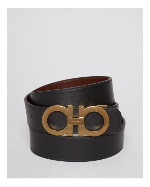 Ferragamo | Black Smooth Leather Double Gancini Belt for Men | Lyst