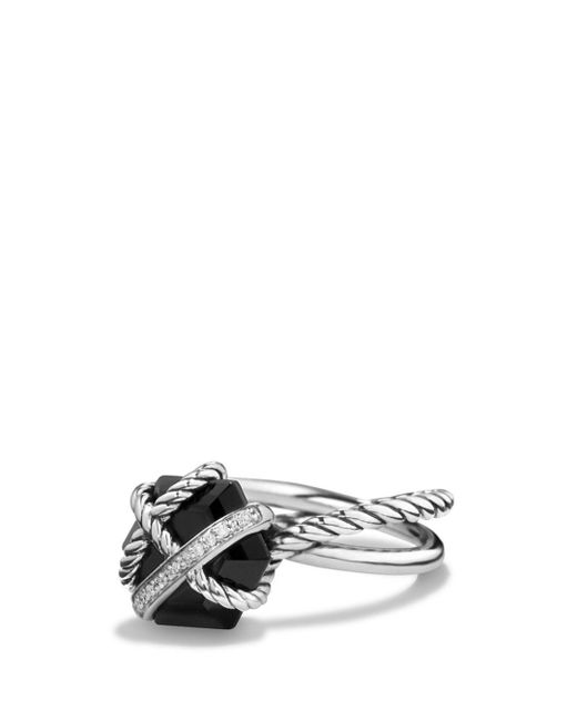 David Yurman - Petite Cable Wrap Ring With Black Onyx And Diamonds - Lyst